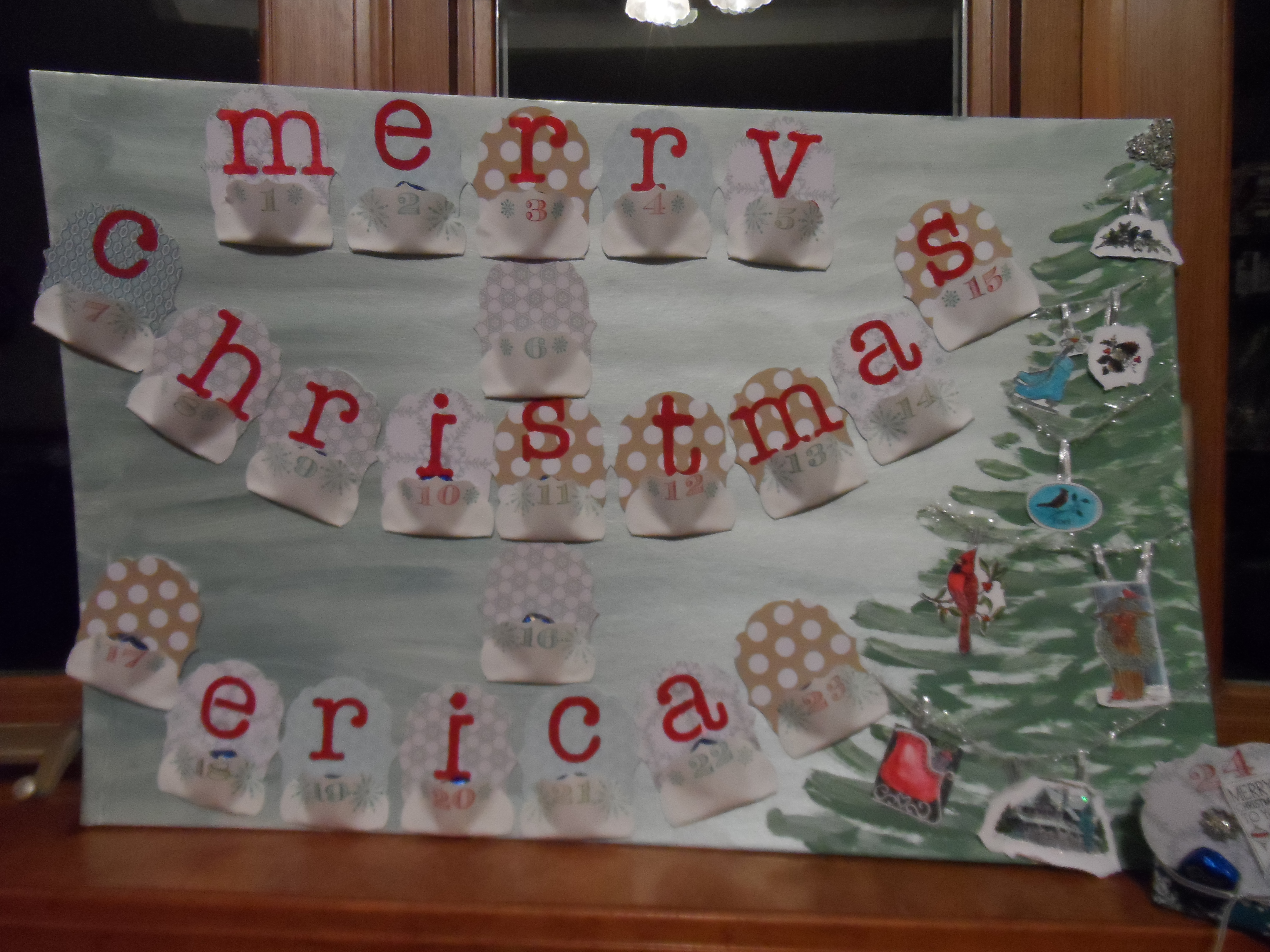 Advent calendar banner style holiday decoration how to for Advent calendar decoration