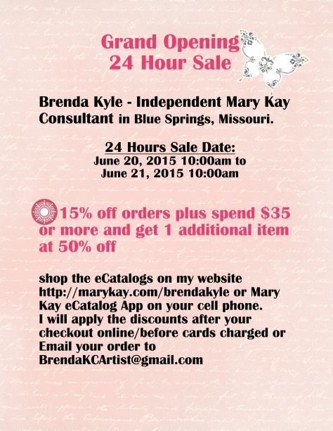 24 Hour Grand Opening Sale by Independent Beauty Consultant Brenda Kyle